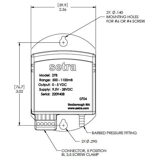 Setra Systems - 278 - Barometertrykkgiver , robust og langtidsstabil VDC utgang 2